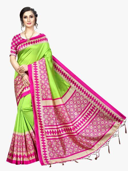 Green and Pink Art Silk Saree