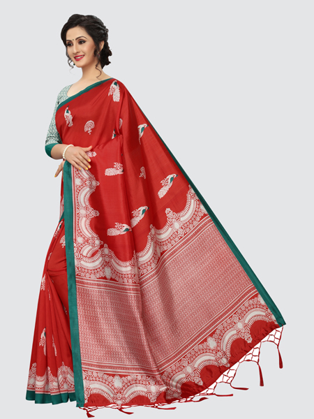 Designer Red Art Silk Saree