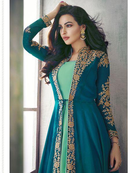 Designer Turquoise Anarkali Suit