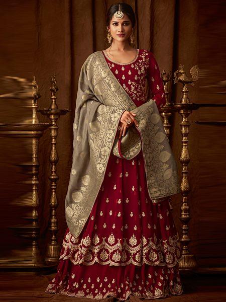Buy Designer Red Long Anarkali Dress Online- YOYO Fashion