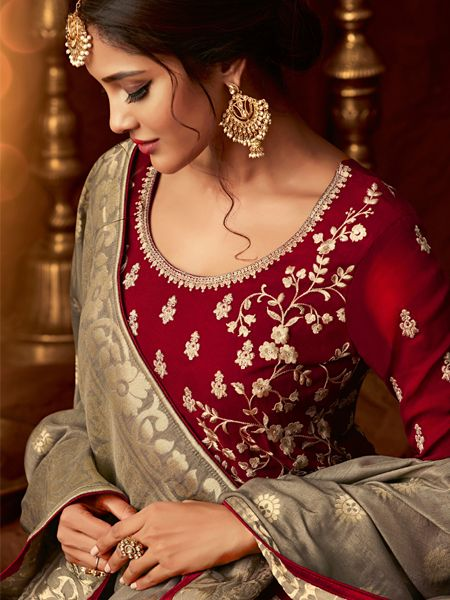 Designer Red Long Anarkali Dress