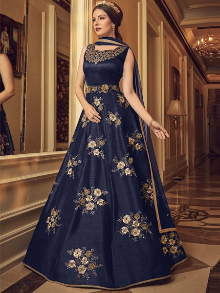 Buy Latest Blue Silk Anarkali Dress Online- YOYO Fashion