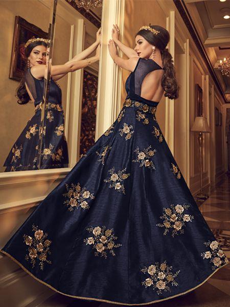 Latest Blue Silk Anarkali Dress