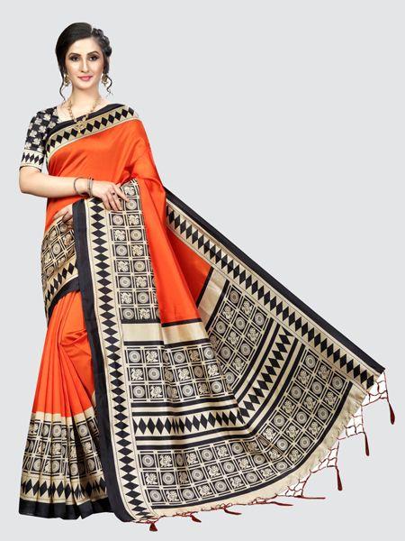 Orange and Black Art Silk Saree