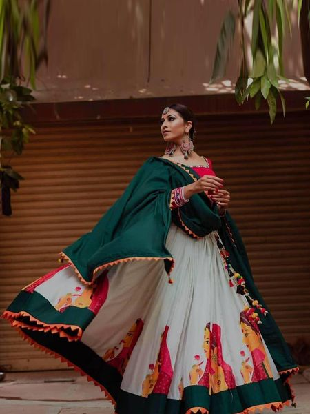 Buy White Silk Lehenga Choli for Navratri 2019