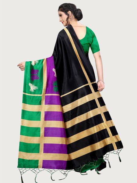 Designer Black Art Silk Saree