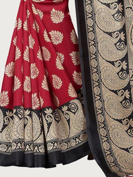 Black and Red Art Silk Saree