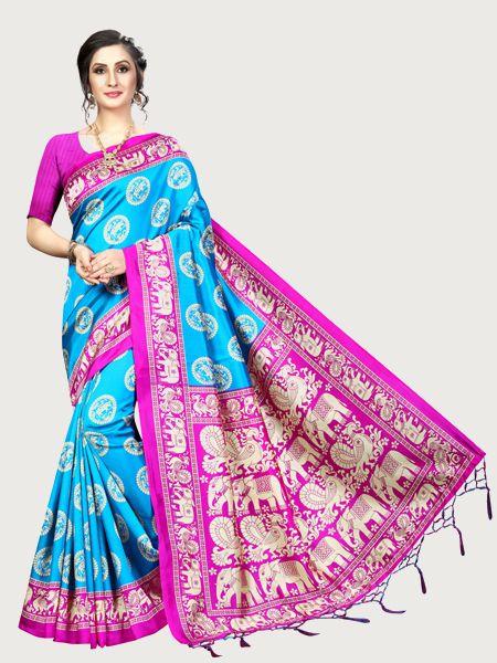Latest Blue and Pink Art Silk Saree