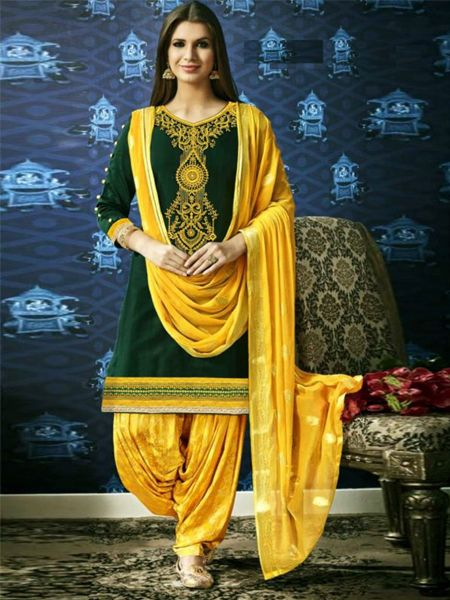 Buy Designer Green and Yellow Patiala Suit Online in India- YOYO Fashion
