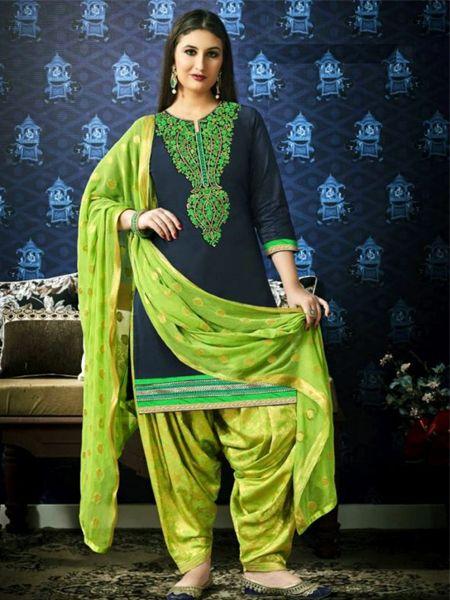 Buy Designer Green Patiala Suit Online in India- YOYO Fashion