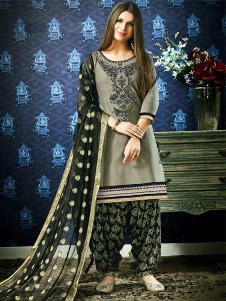 Buy Designer Grey and Black Patiala Suit Online in India- YOYO Fashion