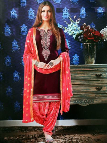 Buy Designer Red and Pink Patiala Suit online in India- YOYO Fashion