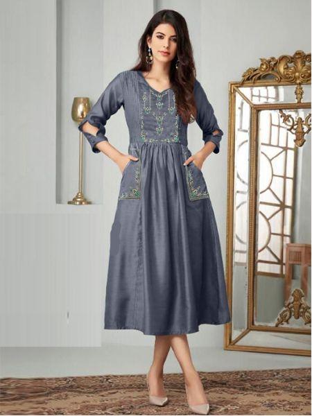 Buy Stylish Grey A-Line Kurti Online in India- YOYO Fashion