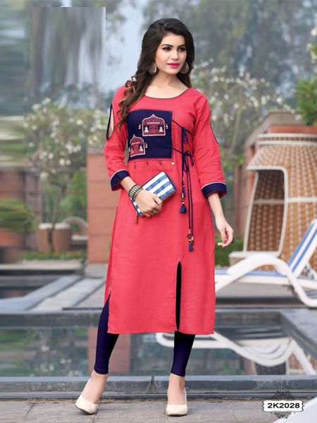 Buy Latest Pink Rayon Kurti Online in India - YOYO Fashion