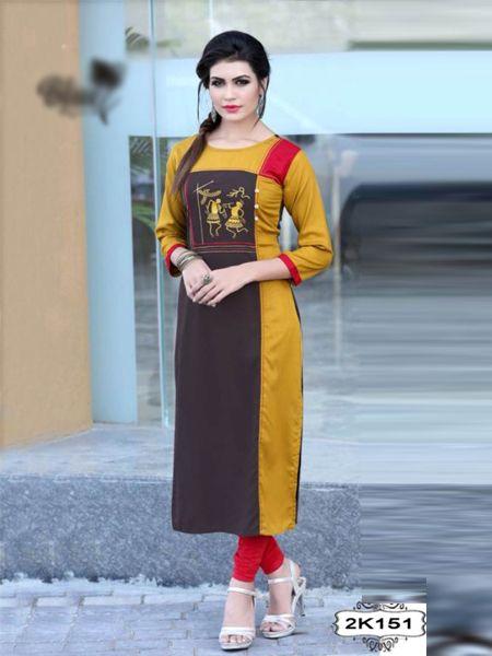 Buy Latest Yellow Rayon Kurti Online in India - YOYO Fashion