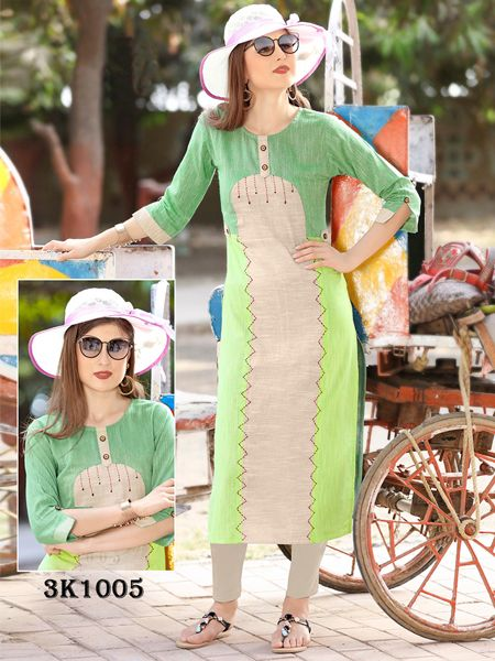 Buy Green Khadi Handwork Kurti Online in India- YOYO Fashion