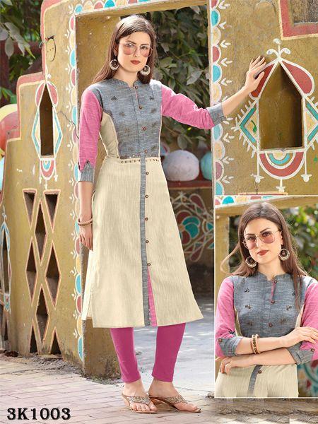 Buy Grey Khadi Handwork Kurti Online in India- YOYO Fashion