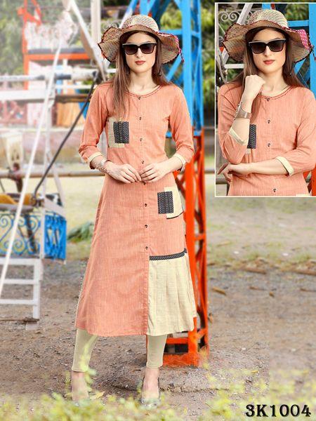 Buy  Orange Khadi Handwork Kurti Online in India- YOYO Fashion