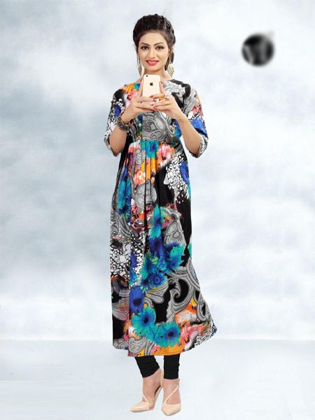 Buy Multi Color Printed Cotton Kurti Online in India- YOYO Fashion