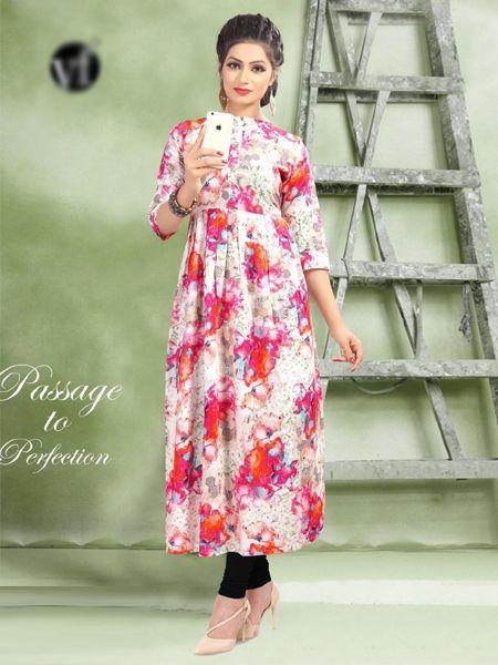 Buy Pink Printed Cotton Kurti Online in India- YOYO Fashion