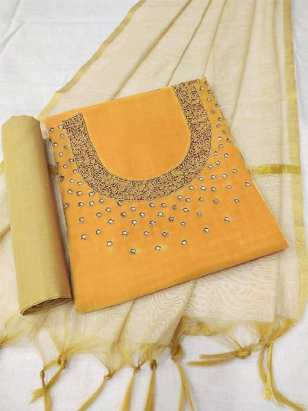 Yellow and Beige Cotton Dress Material