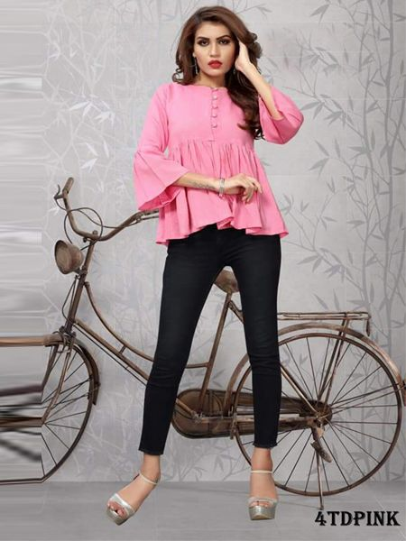 Buy Plain Pink Solid Top Online in India- YOYO Fashion