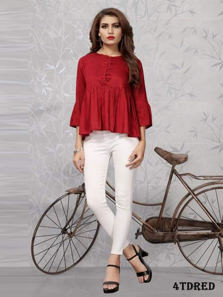 Plain Red Solid Top