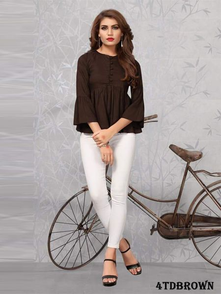 Buy Plain Brown Solid Top Online in India- YOYO Fashion