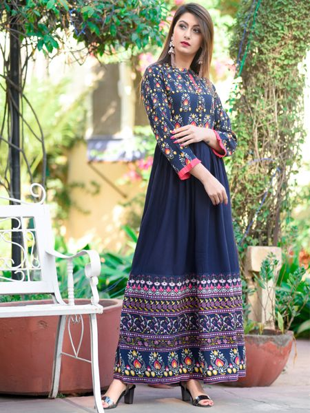 Blue Long Rayon Gown