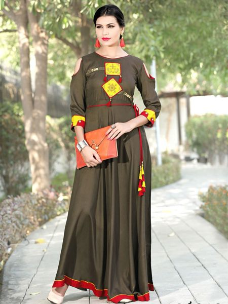 Buy Designer Brown Rayon Gown Online in India- YOYO Fashion