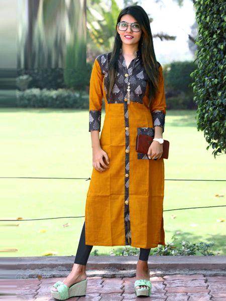 Buy Yellow Cotton Kurti Online in India- YOYO Fashion