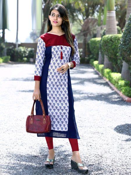 Buy White Cotton Kurti Online in India-- YOYO Fashion