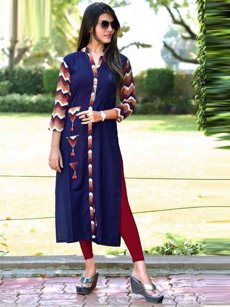 Buy Blue Cotton Kurti Online in India- YOYO Fashion
