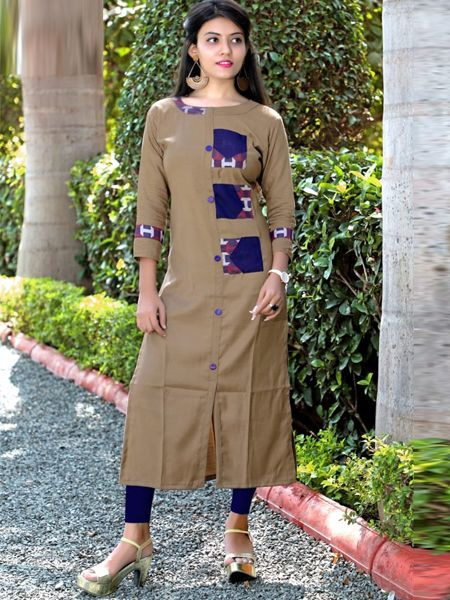 Buy Beige Cotton Kurti Online in India- YOYO Fashion