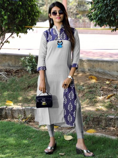 Buy Grey Cotton Kurti Online in India- YOYO Fashion