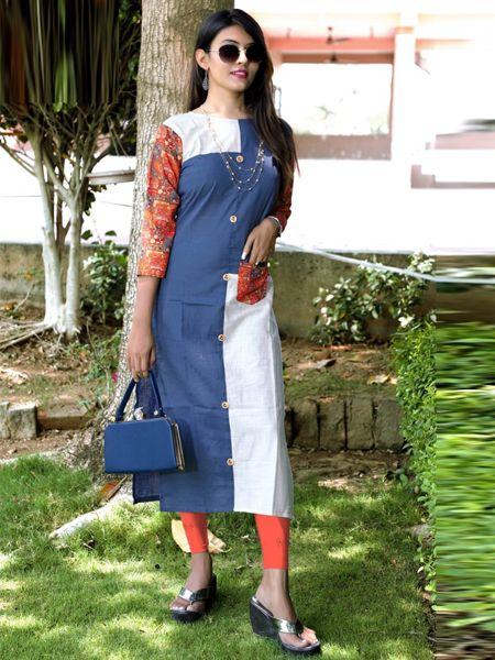 Buy Blue and White Cotton Kurti Online in India- YOYO Fashion