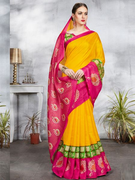 Yellow and Pink Linen Jute Saree