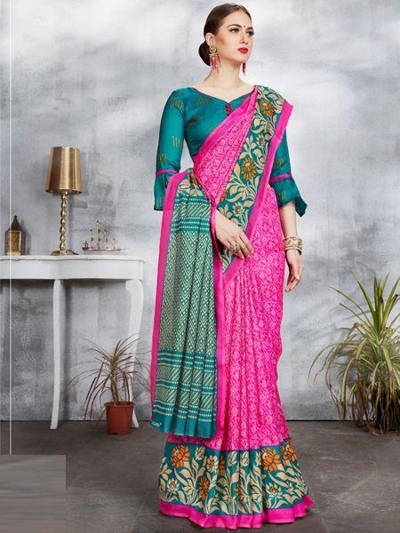 Pink and Firoji Linen Jute Saree
