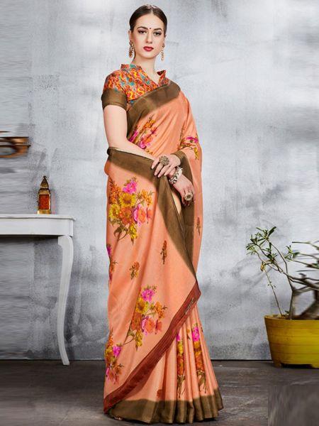 Orange Linen Jute Saree