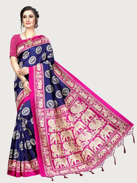 Latest Navy Blue and Pink Art Silk Saree