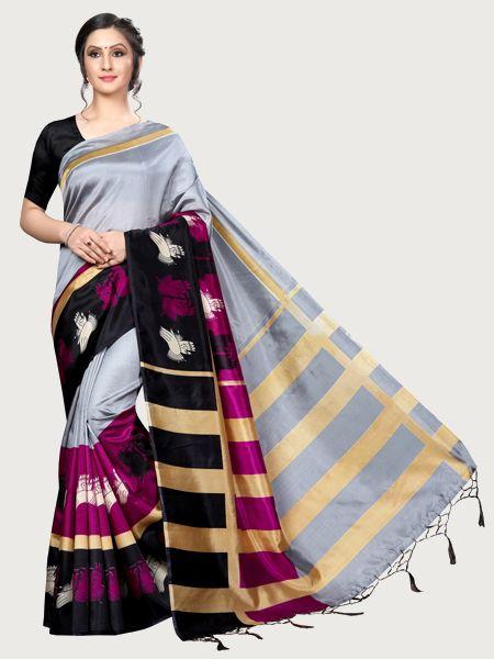 Designer Grey Art Silk Saree