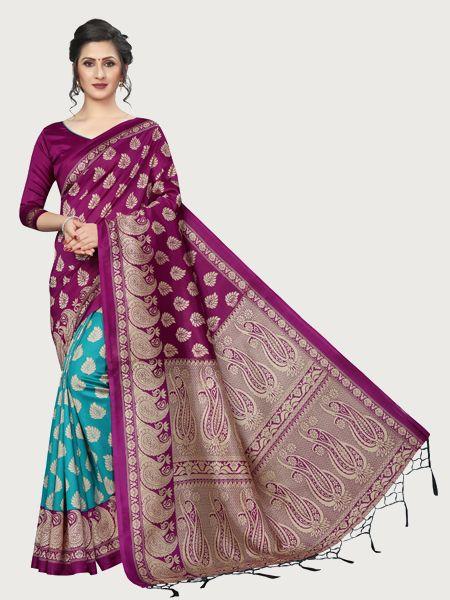 Wine and Rama Art Silk Saree