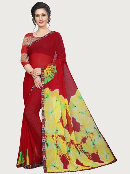 Designer Red Printed Chiffon Saree
