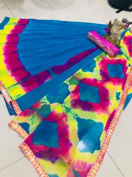 Designer Blue Printed Chiffon Saree