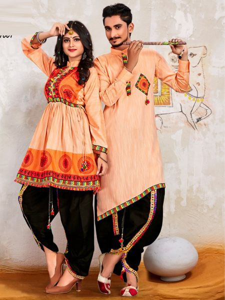 Orange Couple Navratri Dress