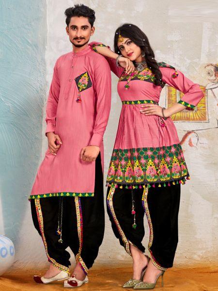 Pink Couple Navratri Dress