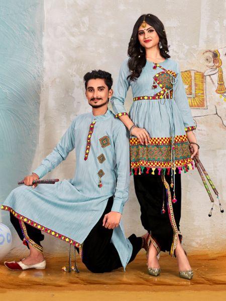 Sky Blue Couple Navratri Dress