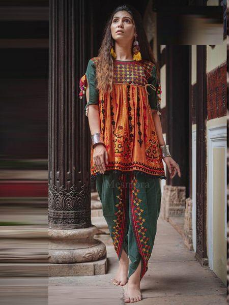 Buy Orange and Green Kedia With Tulip Pants Online- YOYO Fashion
