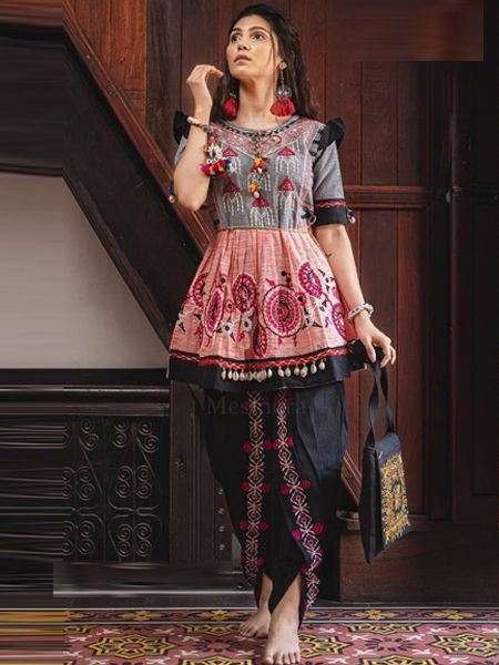 Buy Pink and Black Kedia With Tulip Pants Online in India- YOYO Fashion