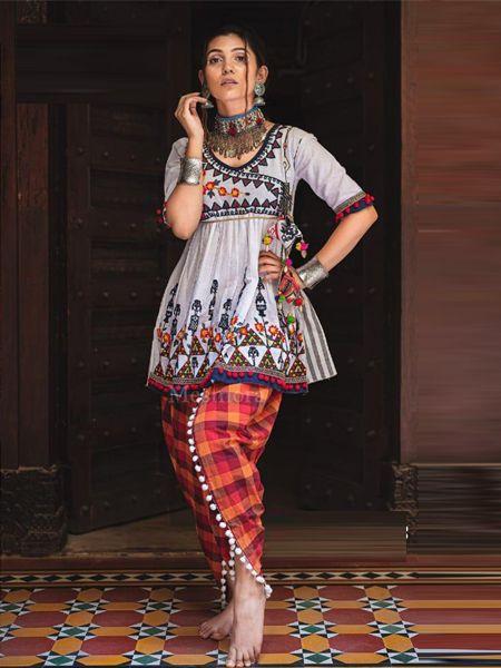 Buy White and Orange Kedia With Tulip Pants Online- YOYO Fashion